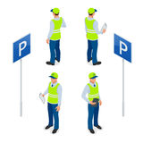 Asistente de estacionamiento isométrico Trafique al encargado, consiguiendo la multa de aparcamiento o la multa de aparcamiento m Imagenes de archivo