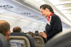 Asistente de vuelo de Eurowings Fotografía de archivo libre de regalías