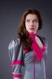 Asistente de vuelo de sexo femenino Imágenes de archivo libres de regalías