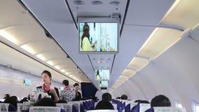 Asistente de vuelo Services en el avión HD almacen de video