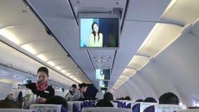 Asistente de vuelo Services en el avión HD almacen de metraje de vídeo