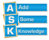 ASK - Add Some Knowledge Blue Vertical Royalty Free Stock Photography