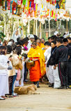 Ask for alms. Chiang rai,Thailand-January 1,2015 : V. Vajiramedhi leading monks and novices ask for alms from buddhism in Rai Cherntawan meditation center. V royalty free stock image