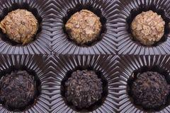 Ask av chokladtryffeln Arkivfoton