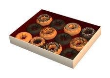 Ask av Donuts på vit Arkivfoto