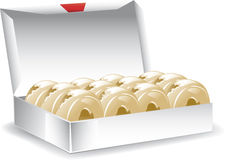 Ask av glasade donuts Arkivbild