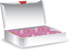 Ask av glasade donuts Arkivfoton