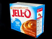 Ask av Jello Sugar Free Butterscotch Pudding Mix Arkivbilder