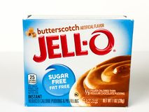 Ask av Jello Sugar Free Butterscotch Pudding Mix Arkivfoto