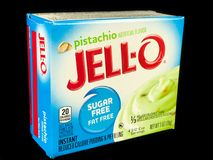 Ask av Jello Sugar Free Pistachio Pudding Mix Royaltyfria Foton
