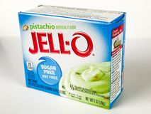 Ask av Jello Sugar Free Pistachio Pudding Mix Arkivfoto