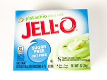 Ask av Jello Sugar Free Pistachio Pudding Mix Fotografering för Bildbyråer