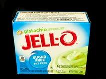 Ask av Jello Sugar Free Pistachio Pudding Mix på den svarta bakgrunden royaltyfria bilder