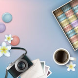 Ask av Macarons royaltyfri illustrationer