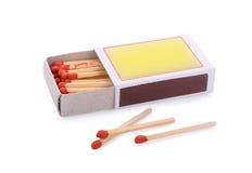 Ask av matches som isoleras på white Fotografering för Bildbyråer