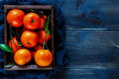 Ask av saftiga tangerin Arkivfoto