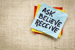 Ask, believe, receive note Royalty Free Stock Photos
