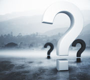 Ask concept. Question marks on abstract foggy gray background. Ask concept. 3D Rendering Royalty Free Stock Image