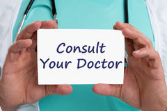 Ask consult your doctor ill illness healthy health check-up scre. Ening with sign royalty free stock photography