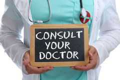 Ask consult your doctor young ill illness healthy health check-u. P screening with sign stock photography