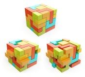 ask 3d kub Skapa begreppet Royaltyfri Foto