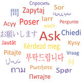 Ask in different languages. Stock Image