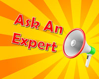 Ask an Expert. Megaphone  business concept with text Ask an Expert, llustration 3d rendering Stock Photos