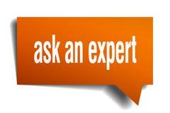 Ask an expert orange 3d speech bubble. Ask an expert orange 3d square isolated speech bubble Royalty Free Stock Photography