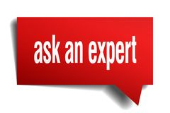 Ask an expert red 3d speech bubble. Ask an expert red 3d square isolated speech bubble Royalty Free Stock Image