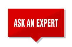 Ask an expert price tag. Ask an expert red square price tag Royalty Free Stock Photos