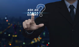 Ask an expert with star and question mark sign icon Stock Photo