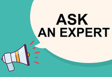 Ask an expert word with megaphone illustration graphic design Royalty Free Stock Photos