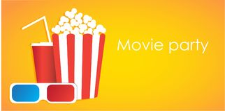 Ask för filmuppsättning med popcorn, sodavattenvatten, exponeringsglas 3d Vektorillustration i plan stil Royaltyfri Foto