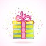 Ask för gåva för gåva för lycklig födelsedag med konfettier. Arkivfoton