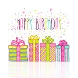 Ask för gåva för gåva för lycklig födelsedag med konfettier. royaltyfri bild