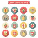 Ask för gåva för påse för shopping för stil för lägenhet för uppsättning för symbol för nytt år för jul royaltyfri illustrationer