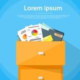 Ask för pappers- dokument för kontor för enhetsfinansaffär royaltyfri illustrationer
