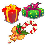 Ask för rotting för julgodis grön och röd gåva, Fotografering för Bildbyråer