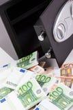 Ask för säker insättning, hög av kontanta pengar, euro Royaltyfri Foto