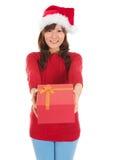 Ask för Santa Woman lycklig geende julgåva Arkivbild