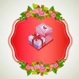 Ask för valentinemblemgåva Arkivfoton
