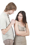 Ask forgiveness. Young cute guy asks his friend forgiveness stock photo