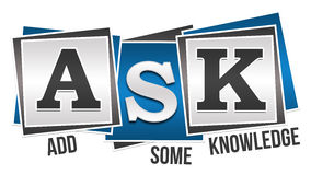 Ask Formula Blue Grey Squares. ASK - Add Some Knowledge text over blue grey background Royalty Free Stock Photos