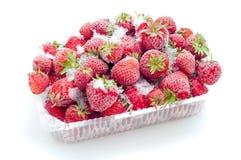 ask fryste öppnade jordgubbar Royaltyfri Fotografi