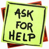 Ask for help advice or reminder. Handwriting on an isolated sticky note Stock Photo