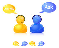 Ask help icon. Agent on phone Royalty Free Stock Images