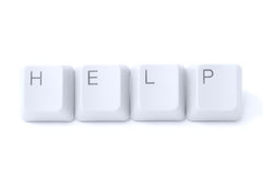 Ask for help through internet. Keyboard buttons help isolated on white background Royalty Free Stock Photography
