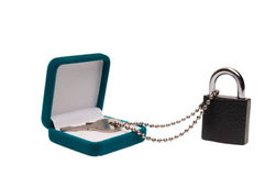 ask isolerad key padlockpresentwhite Arkivbild