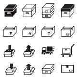 Ask & logistiska leveranssymboler Royaltyfri Bild