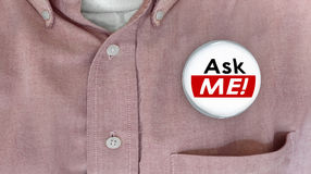 Ask Me Question Customer Support Answers Button Pin Stock Photography